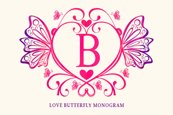Print on Demand: Love Butterfly Monogram Decorative Font By utopiabrand19