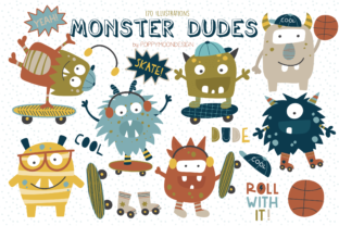 Print on Demand: Monster Dudes Clipart Set Graphic Illustrations By poppymoondesign