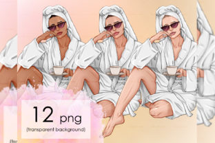 Stay Home Spa, Spa Girl with Coffee Graphic Objects By arctiumstudio