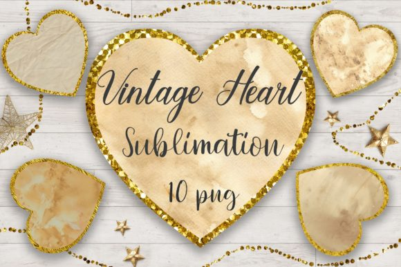 Sublimation Vintage Heart Glitter Graphic Backgrounds By PinkPearly