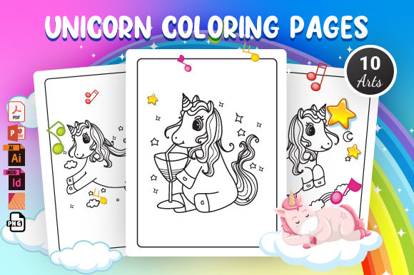 Unicorn Coloring Pages 2 - KDP Interior Graphic Coloring Pages & Books Kids By Moon