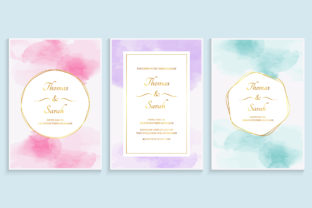 Watercolor Wedding Invitation Template Graphic Backgrounds By medelwardi
