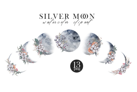 Watercolor Moon Phases Clipart Graphic