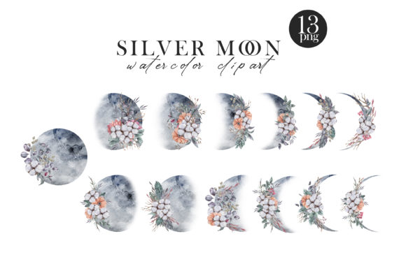 Watercolor Moon Phases Clipart Graphic Download