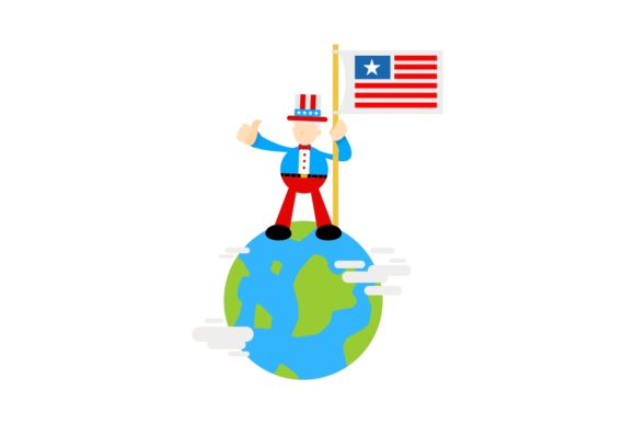 America People and Earth Globe Cartoon Graphic Illustrations By Ardwork