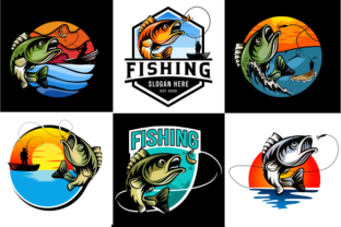 Print on Demand: Set of Summer Fishing Logo Mascot Badge Graphic Logos By blueberry 99d