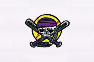 Baseball Pirate Skull Pirates Embroidery Design By DigitEMB