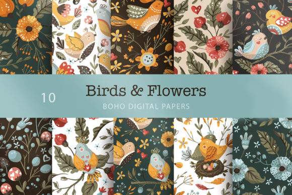 Print on Demand: Birds & Flowers Seamless Pattern Set. Graphic Patterns By Red Ink