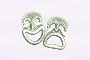 Ecstatic Theatre Masks Friends Embroidery Design By DigitEMB