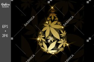 Gold Weed Droplet with Cannabis Leaves Graphic Illustrations By sashica designs