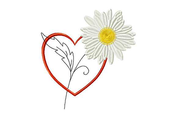 Print on Demand: Heart and Chamomile Valentine's Day Embroidery Design By EmbArt
