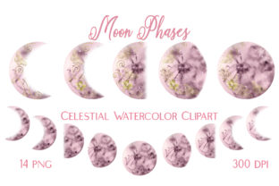 Moon Phases Celestial Watercolor Clipart Graphic Illustrations By outlander1746