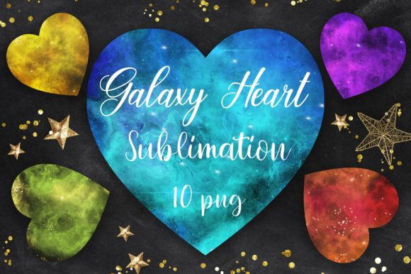 Sublimation Galaxy Heart Clipart Graphic Backgrounds By PinkPearly