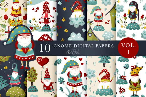 Print on Demand: Valentines Gnome Seamless Patterns Vol.1 Graphic Patterns By Red Ink