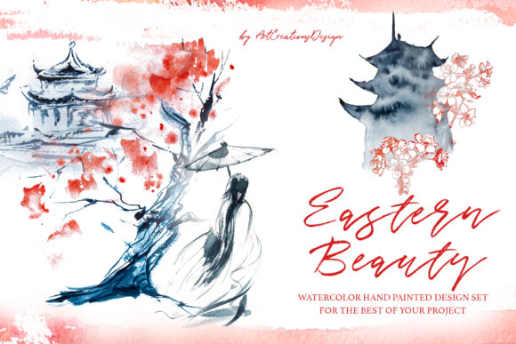 Watercolor Eastern Beauty Design Set Grafik Illustrationen von artcreationsdesign