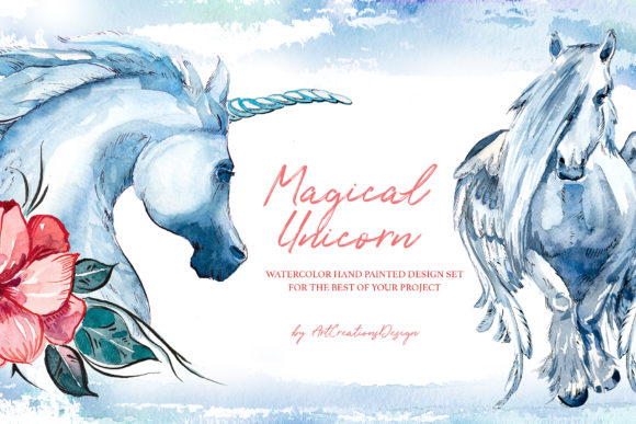 Watercolor Magical Unicorn Design Set Graphic Illustrations By artcreationsdesign