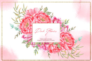 Print on Demand: Watercolor Pink Flowers Collection Graphic Illustrations By tanatadesign