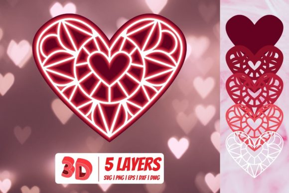 3D Valentines Heart Graphic Crafts By SvgOcean