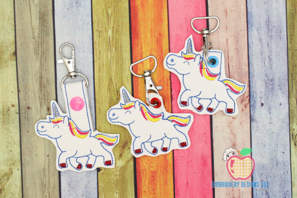 Beautiful Unicorn ITH Snaptab Keyfob Fairy Tales Embroidery Design By embroiderydesigns101