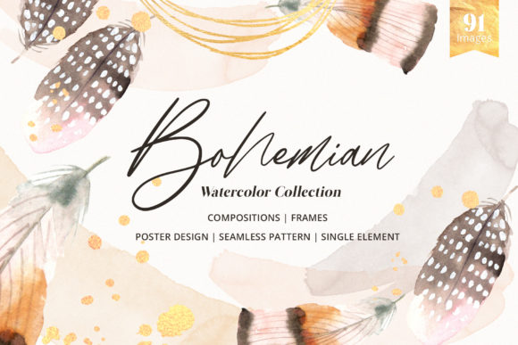 Bohemian the Boho Tribe Watercolor Graphic Illustrations By WatercolorEps
