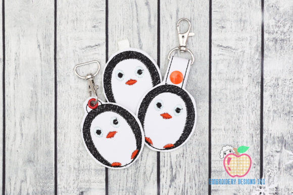 Cartoon Standing Penguin ITH Keyfob Wild Animals Embroidery Design By embroiderydesigns101