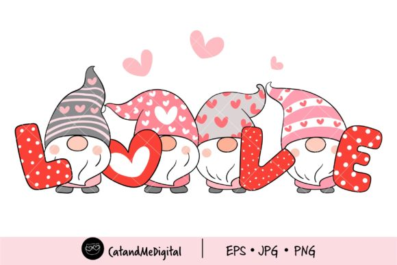 Cute Gnomes Valentine Clipart. Grafik Illustrationen von CatAndMe