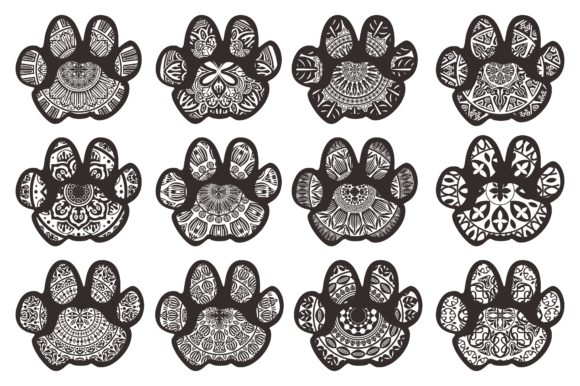 Print on Demand: Dog Cat Paw Animal Footprint Mandala Set Graphic Crafts By Arief Sapta Adjie