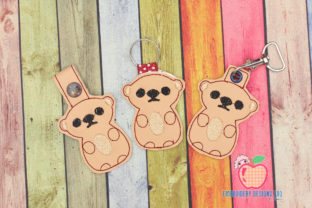 Funny Sitting Brown Bear ITH Keyfob Animales salvajes Diseños de bordado Por embroiderydesigns101
