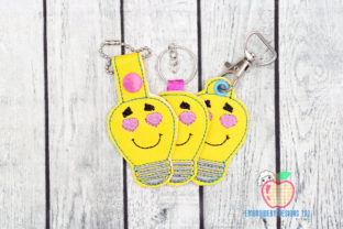 Light  Cartoon ITH Key Fob Pattern Backgrounds Embroidery Design By embroiderydesigns101