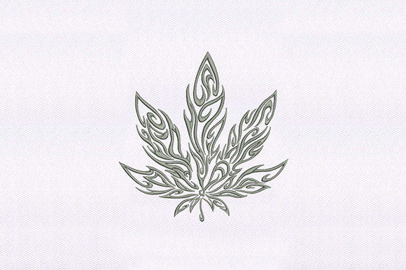 Marijuana Leaf Design Outline Flowers Embroidery Design By DigitEMB