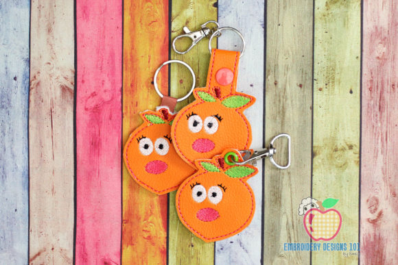 Ripe Peach with Green Leaf ITH Keyfob Food & Dining Embroidery Design By embroiderydesigns101
