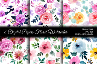 Print on Demand: Seamless Pattern Floral Watercolor 92 Graphic Backgrounds By asrulaqroni