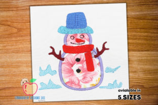 Snowman with Hat and Scarf Applique Winter Embroidery Design By embroiderydesigns101