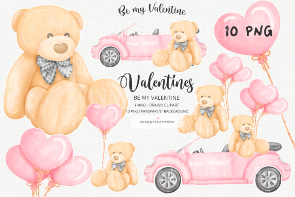 Valentine Bundle with Teddy Bear, 10PNG Graphic
