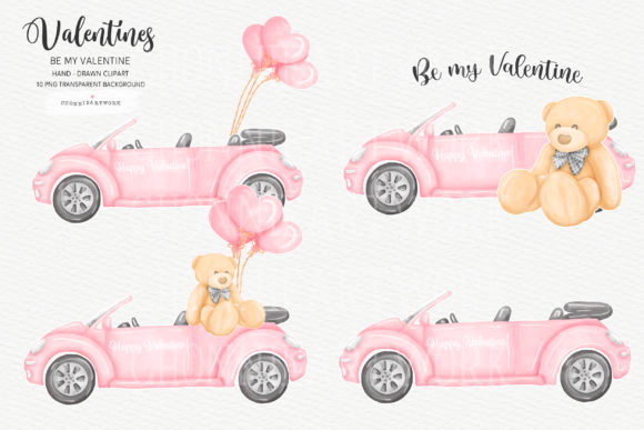 Valentine Bundle with Teddy Bear, 10PNG Graphic Download