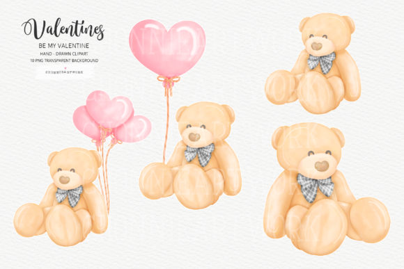 Valentine Bundle with Teddy Bear, 10PNG Graphic Item