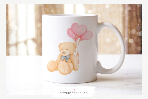 Valentine Bundle with Teddy Bear, 10PNG Graphic Design