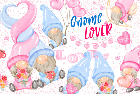 Valentine's Gnome Lover Clipart Graphic Illustrations By Hippogifts