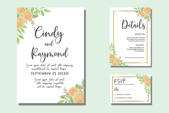 Print on Demand: Floral Watercolor Invitations Design SVG Graphic Print Templates By Dender Studio