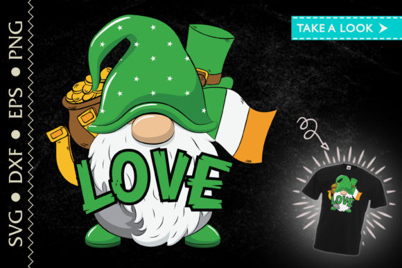 Print on Demand: Love Gnome St. Patrick's Day Irish Flag Graphic Crafts By Tweetii