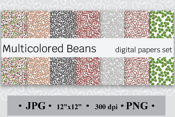 Multicolored Beans Digital Paper Set Graphic Backgrounds By SunnyColoring