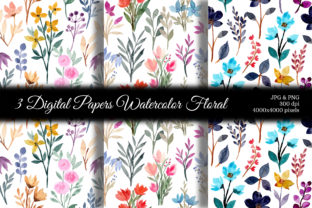 Print on Demand: Seamless Pattern Floral Watercolor 99 Graphic Backgrounds By asrulaqroni