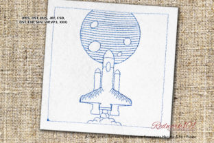 Space Shuttle Robots & Space Embroidery Design By Redwork101