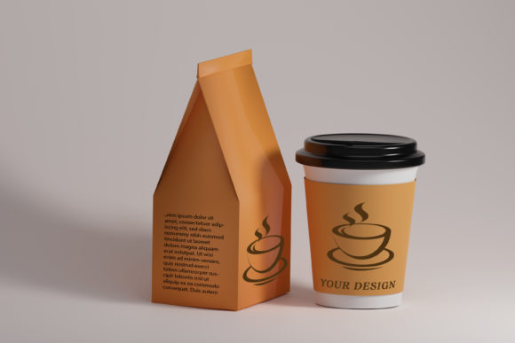 Cup and Paper Coffee Bags Mockup Graphic Product Mockups By gilangkenter