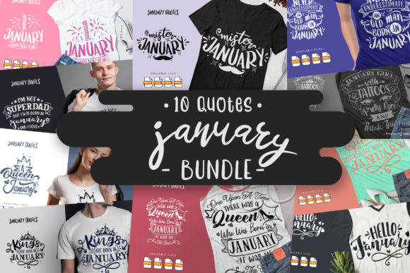 Print on Demand: 10 January Bundle | Lettering Quotes Graphic Crafts By Vunira
