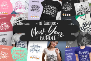Print on Demand: 10 New Year Bundle | Lettering Quotes Graphic Crafts By Vunira