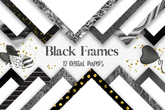 Black Frames Background Digital Papers Graphic Backgrounds By PinkPearly