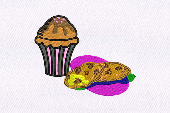 Cupcake and Cookies Dessert & Sweets Embroidery Design By DigitEMB