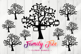 Print on Demand: Family Tree SVG - Frame Clipart Set Graphic Crafts By DTCreativeLab