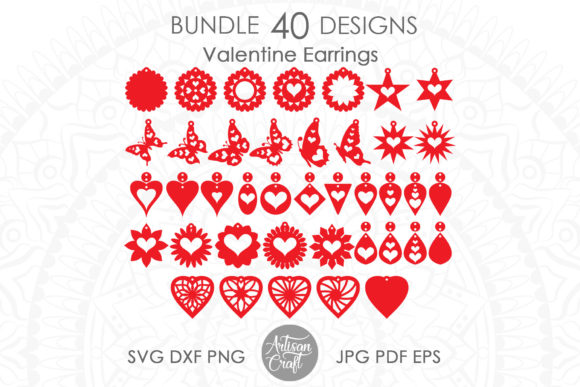 Print on Demand: Heart Earrings, Laser Cut Earrings Graphic 3D SVG By Artisan Craft SVG